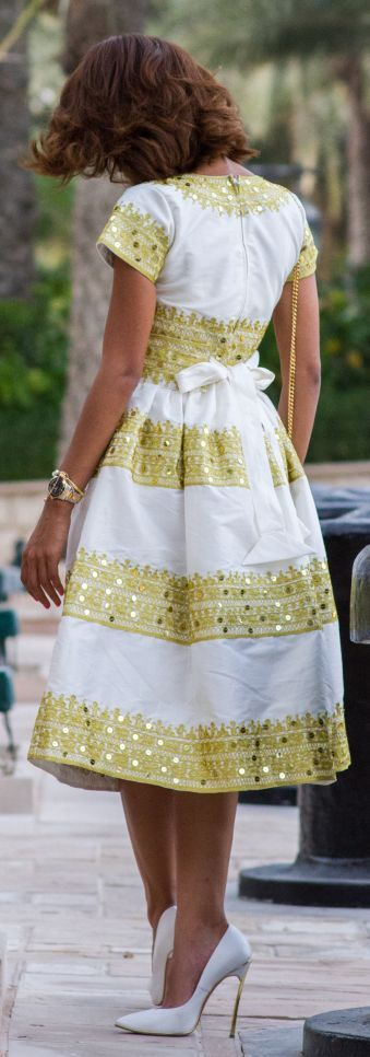 Traditional Trends Yellow And White Sequin Embellished Stripe Full A-line Midi Midi Dress #Women