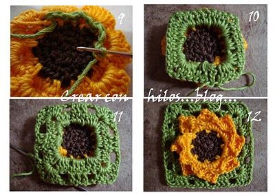 granny girasol (sunflower granny)Fin De, Girasol Sunflowers, Granny Girasol, Granny Sunflowers, En Donde, Feliz Fin, Sunflowers Granny, Blog For, Bigú Handmade
