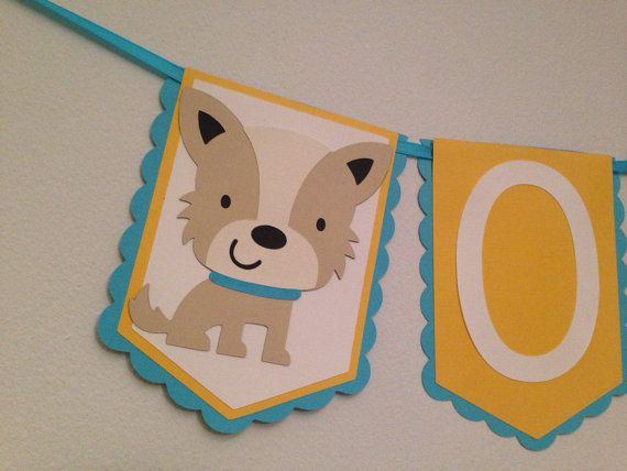 Puppy First Birthday Banner Yellow and by QuirkyOwlDesigns