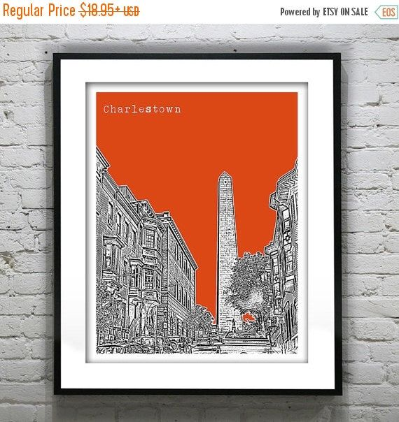 SALE 20% OFF Charlestown Boston Massachusetts Skyline Poster Art Print MA Version 6 by AnInspiredImage on Etsy https://www.etsy.com/listing/233987496/sale-20-off-charlestown-boston