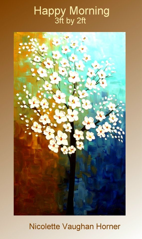 ORIGINAL Large 3ft x 2ft   gallery wrap canvas-Contemporary impasto  modern  abstract  floral painting by Nicolette Vaughan Horner Free ship. $225.00, via Etsy.: Floral Paintings