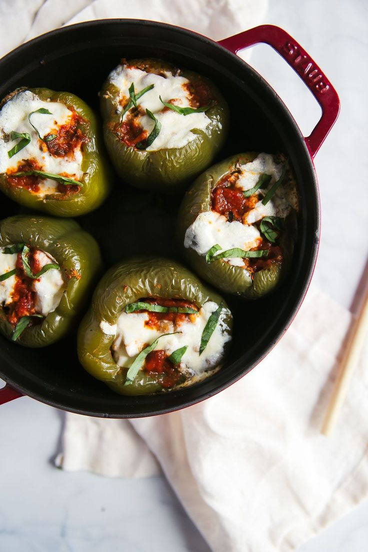 White Bean, Spinach & Turkey Stuffed Bell Peppers with Burrata