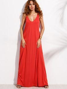 Vestido maxi escote V sin mangas - rojo