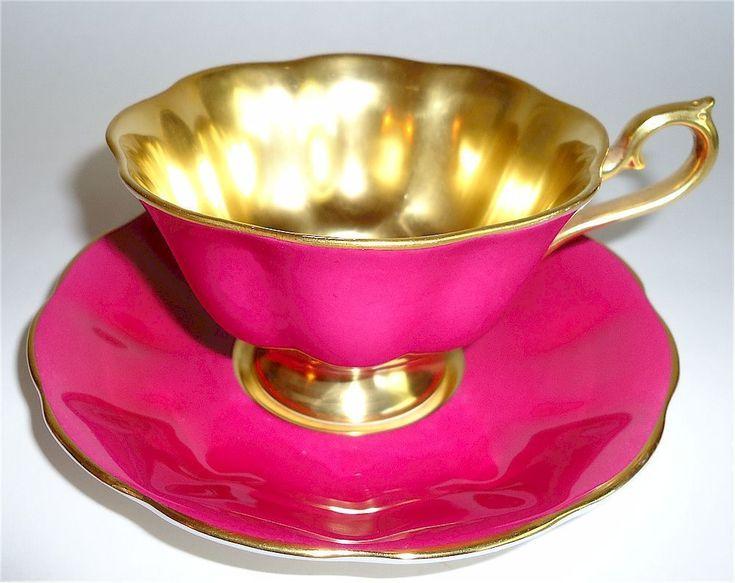 ROYAL ALBERT BONE CHINA TEA CUP SAUCER MAGENTA PINK GOLD