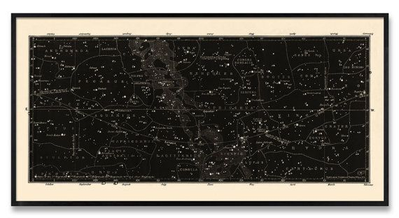 As featured on Emily Hendersons Interior design blog! (see more photos here: https://stylebyemilyhenderson.com/blog/saras-bedroom-reveal) This very wide format print is based on a restored and very rare Antique German Constellation Map from 1849, and is rich in black with bold lines