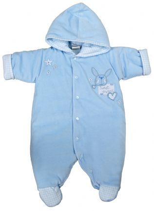 """Beautiful Premature Pram Suit with cute """"Sweet Dreams"""" Rabbit design. Slightly padded for comfort. Supersoft Velour lining on the inside. Made from 100% Cotton on the outside. Gingham pattern on the Inside, Cuffs and Feet. Available in Blue or Pink. In sizes 3-5lbs and 5-8lbs."""