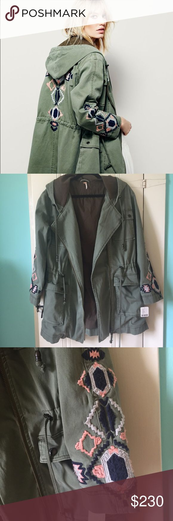 Free People Military embroidered jacket Free People Military Embroidered jacket. Super soft and beautiful color! Free People Jackets & Coats