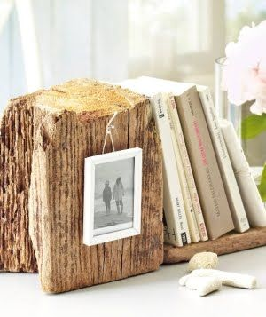 book end from the beach.. i love the idea of hanging a tiny photo frame on it.  Sea glass soap: http://www.latikasoap.com/shop/Party%20favors/Sea%20Glass%20Soap/
