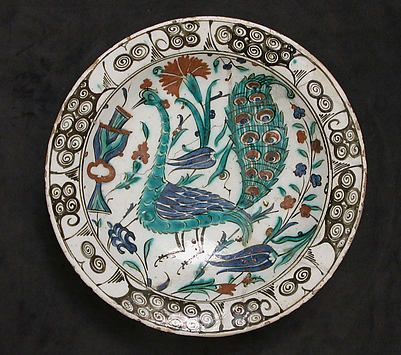 Dish with Peacock Design ca. early 17th century, stonepaste, polychrome painted under transparent glaze, from the collection of @metmuseum