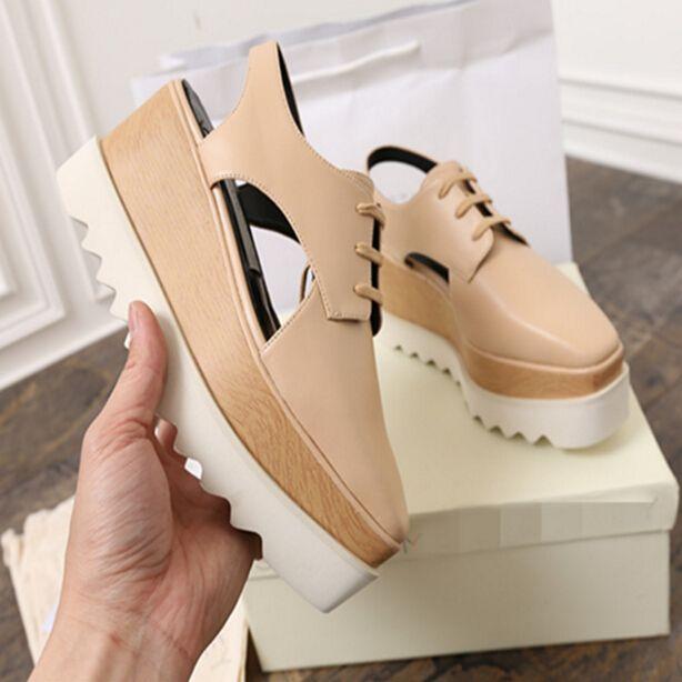 35-40 Nude Slingback zapatos de plataforma recorte verano zapatos aumento de la altura de espejo de plata, bronce lace up wedge bebé stella bombas