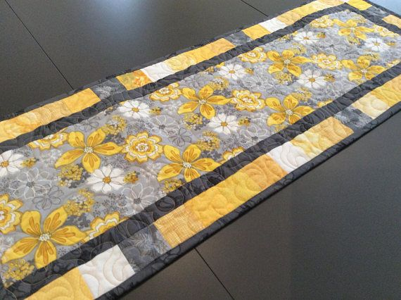 Yellow Grey Floral Quilted Table Runner Spring Daisy Table Etsy Coffee Table Runner Quilted Table Runners Christmas Quilted Table Runners