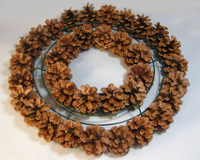 Excellent tutorial by Another Bright Idea for a pine cone wreath