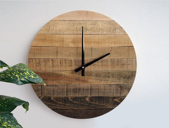 gradient rustic wall clock large wall clock weathered wood clock home decor reclaimed wood decor ready to ship gift idea