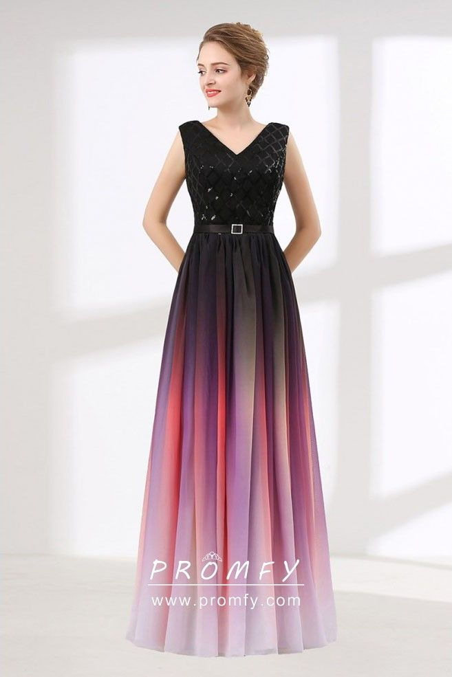 a722081a7b Black Glitter and Red Chiffon V-neck A-line Wedding Guest Formal ...