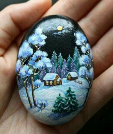 Nighttime winter scene stone painting.