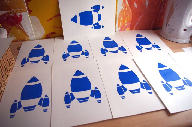 ©Helen J Taylor Design A4 Rocket screen prints drying