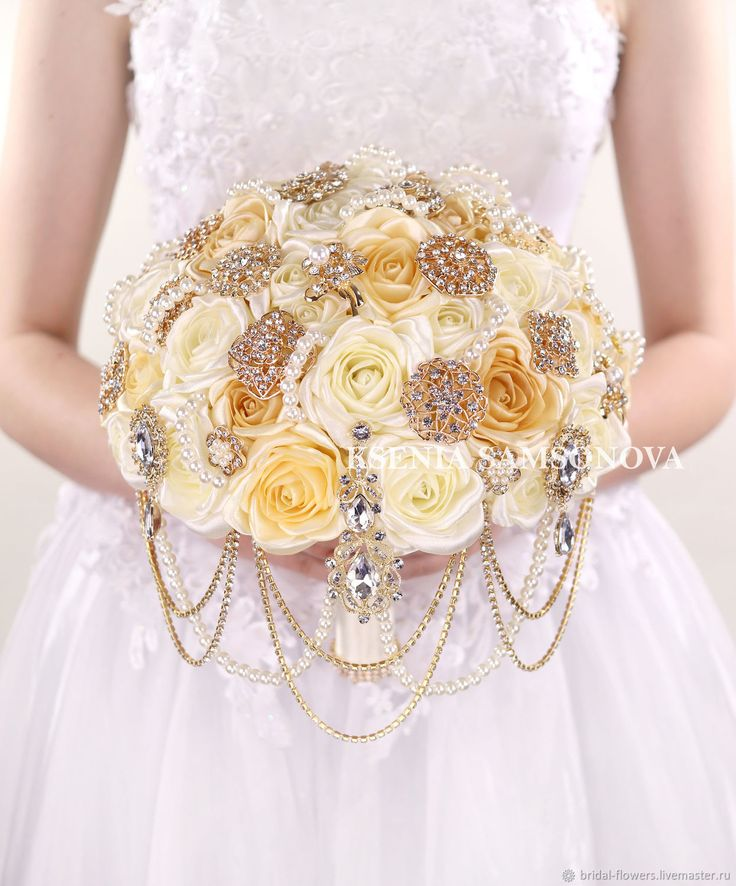Wedding Bouquet of Satin Roses and Brooches |  Золотой брошь-букет невесты из айвори и бежевых роз в интернет магазине на Ярмарке Мастеров