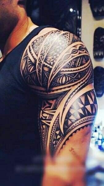 Awesome Mens Half Sleeve Tribal Tattoo!