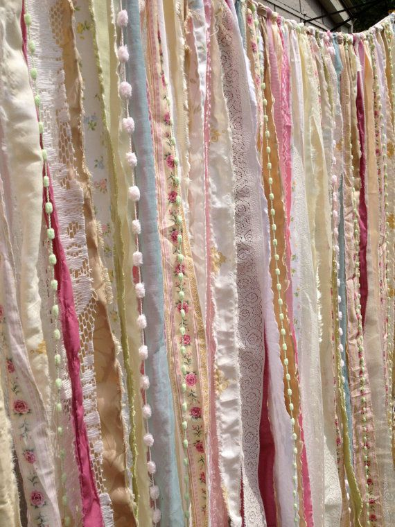 Shabby Chic Boho Rustic Fabric Garland Backdrop - Ribbon Fabric Wall - Nursery, Gypsy Festival Curtain, Room Decor - Glamping - 10 ft x 6 ft