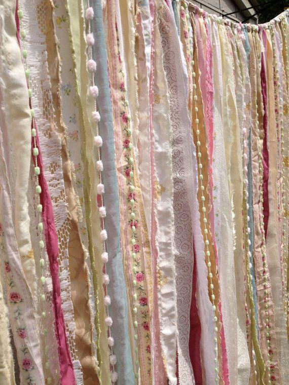 Shabby Chic Boho Rustic Fabric Garland Backdrop - Ribbon Fabric Wall - Nursery, Gypsy Festival Curtain, Room Decor - Glamping - 10 ft x 6 ft