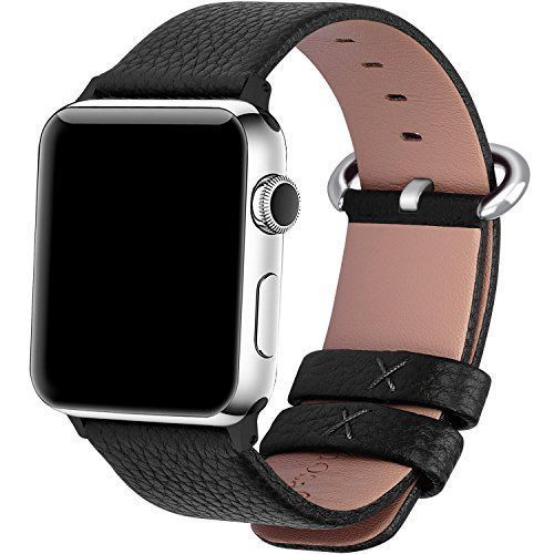 Watch Band For Apple 38mm Calf Leather iWatch Strap Stainless Metal Clasp Black #WatchBand