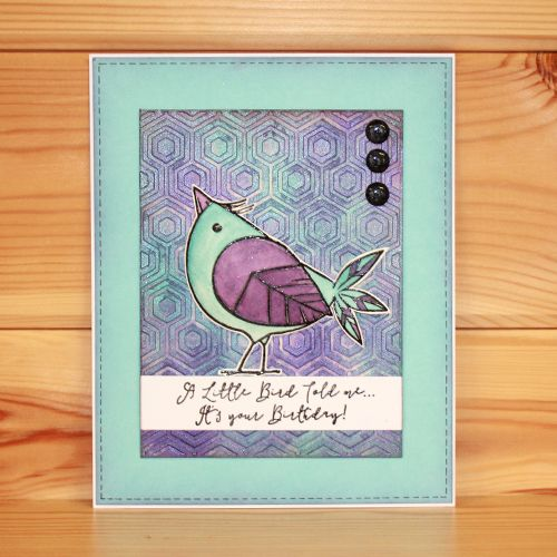 This is the gorgeous new Foam Mounted Funky Bird & Flower Set. It is December's Monthly Special for 2016. Designed by Sharon Bennett. Both stamps are backed onto EZ-mount so will adhere to any acrylic block. Card by Kim Reygate