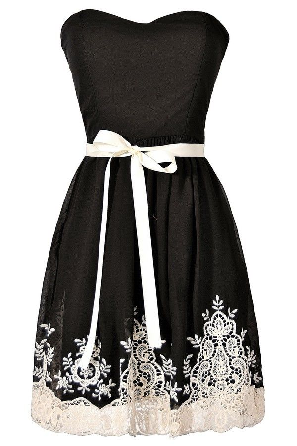 Nataya Black and Ivory Embroidered Strapless Dress  www.lilyboutique.com