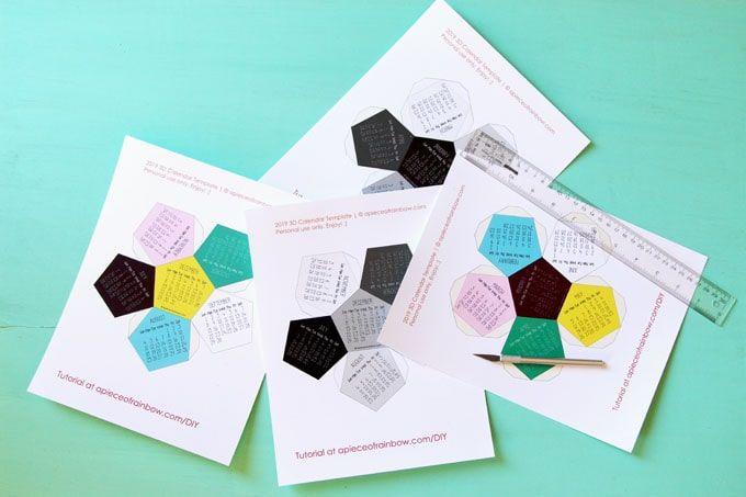 Calendario Rainbow.3d 2019 Calendar With Free Printable Calendar Template