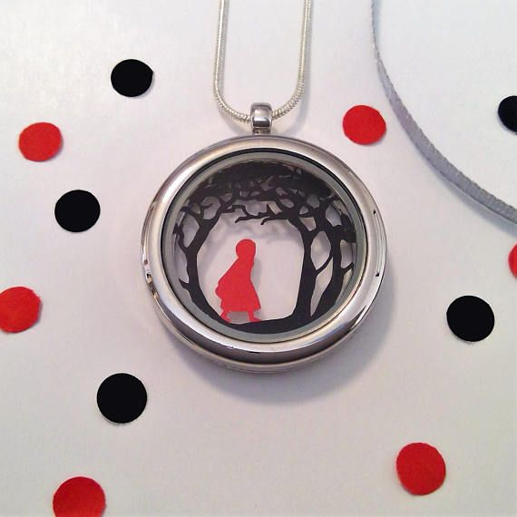 Red Riding Hood Papercut Pendant  Fairytale Necklace  Paper