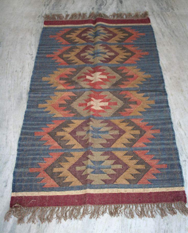 Turkish kilim Rug Hand made Wool Jute kilim Carpet Area Rug #Turkish