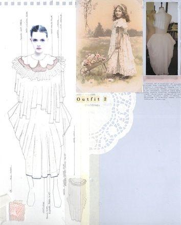 Fashion Sketchbook page - creative layouts; fashion design portfolio; outfit design development // Rebecca Thomson