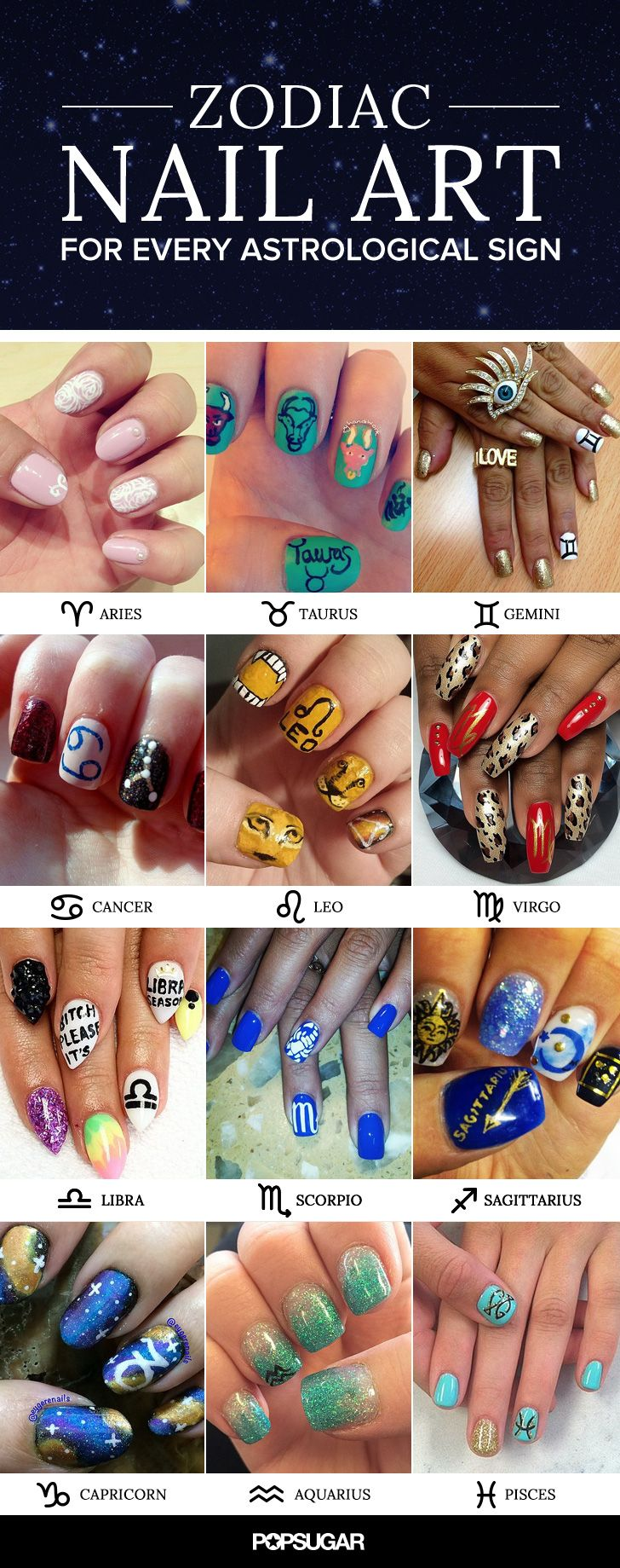 Zodiac + nail art = astrological awesomeness. Get inspired to create your own lo…