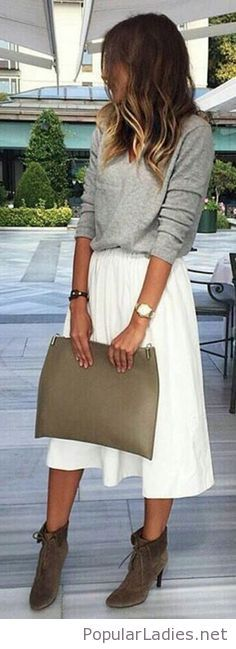 Grey blouse, white skirt and olive accessories