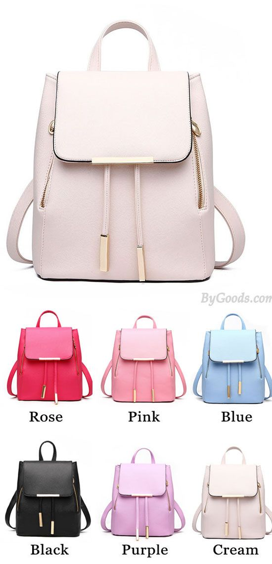 Elegant Pink Funky Lady Solid Simple Square PU Drawstring Hasp Satchel  Backpack for big sale ! b07aea7aa2feb