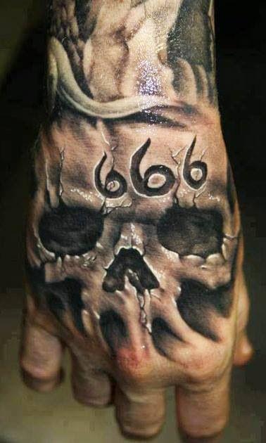 666 skull tattoo. Hand tattoo. | gee shit | Skull hand ...