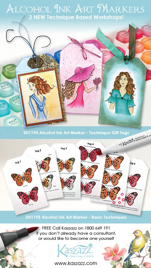 "Want to be taught how to use the new Kaszazz Alcohol Ink Art Markers?  Simply contact Jenny on 0428 898 120 (or another friendly Kaszazz consultant) and book a workshop. Two to choose from are ""2H1193 Alcohol Ink Art Marker - Basic Techniques"" or ""2H1194 Alcohol Ink Art Marker - Technique Gift Tags.""  The techniques you will learn can then be applied to your own unique creations."