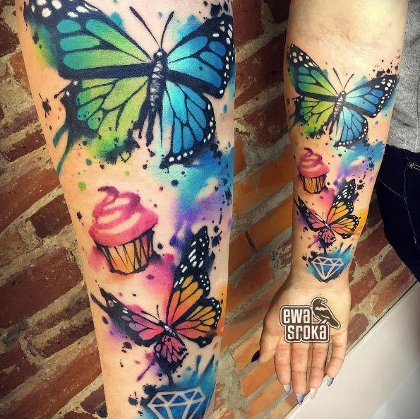 Animal Tattoo Designs Watercolor Butterflies By Ewa Sroka