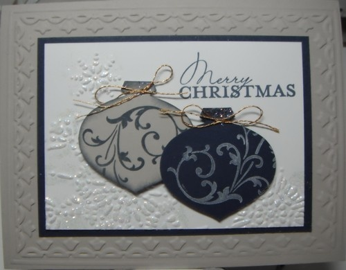 Stampin Up Christmas Card Kit - Dual Ornaments - 5 kits 1 sample Navy & Sand | eBay