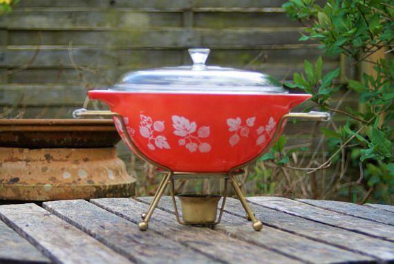 Vintage Pyrex Casserole Dish with Warmer / Burner. Rare