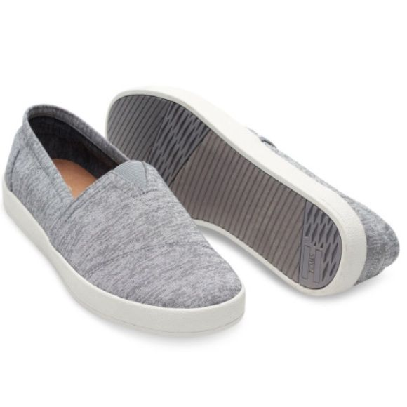 TOMS Avalon Slip Ons Frost Grey Heather color. Jersey material. Flexible, one piece mixed rubber outsole. Size is a men's 7, which translates to a woman's 8.5 according to TOMS.com. I think this could also fit an 8! Brand new with tags! TOMS Shoes