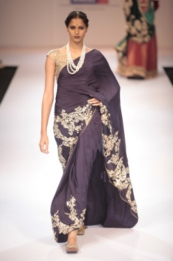 Shyamal & Bhumika - Lakme Fashion Week Winter/Festive 2012 | Vogue INDIA, love the pearls with the sari