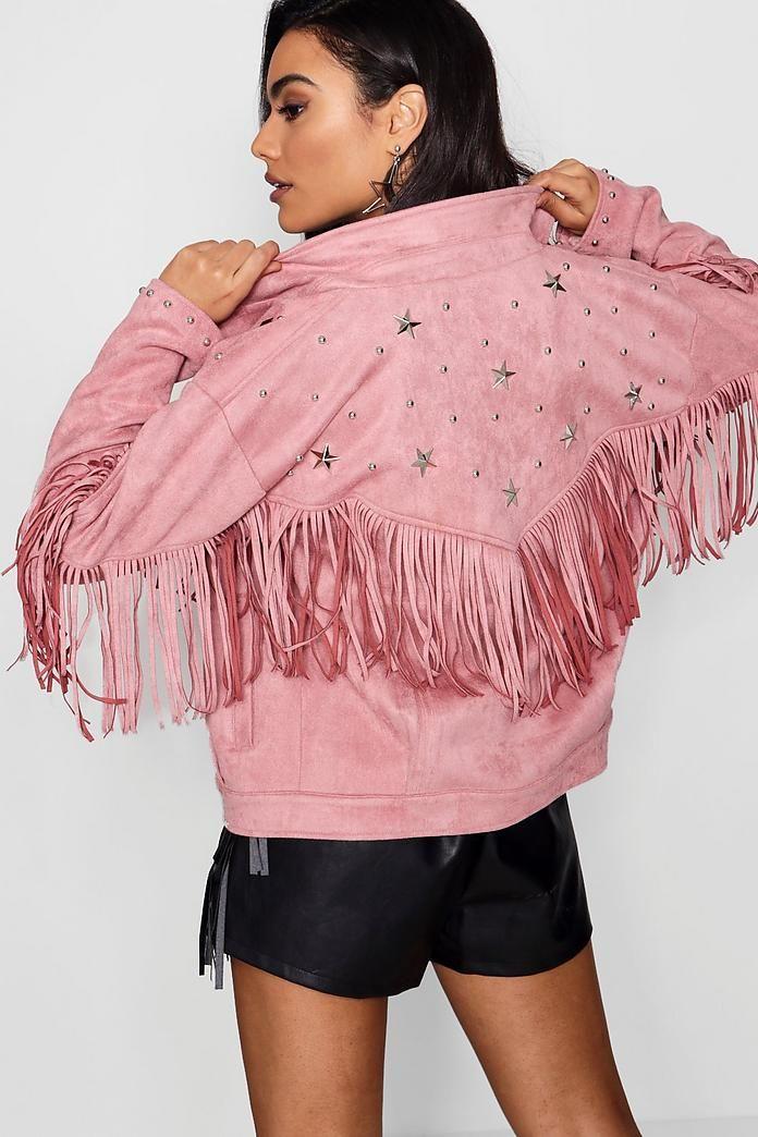 Faye Fringe Suedette Jacket With Star Studs