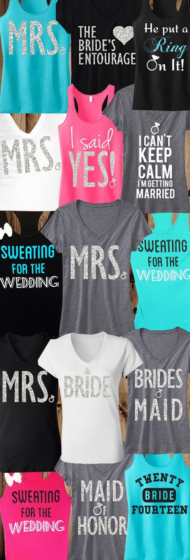 3 WEDDING BRIDE BRIDESMAIDS Tops 15% Off Bundle, Mrs Shirt, Bridal Shirt , Bride…