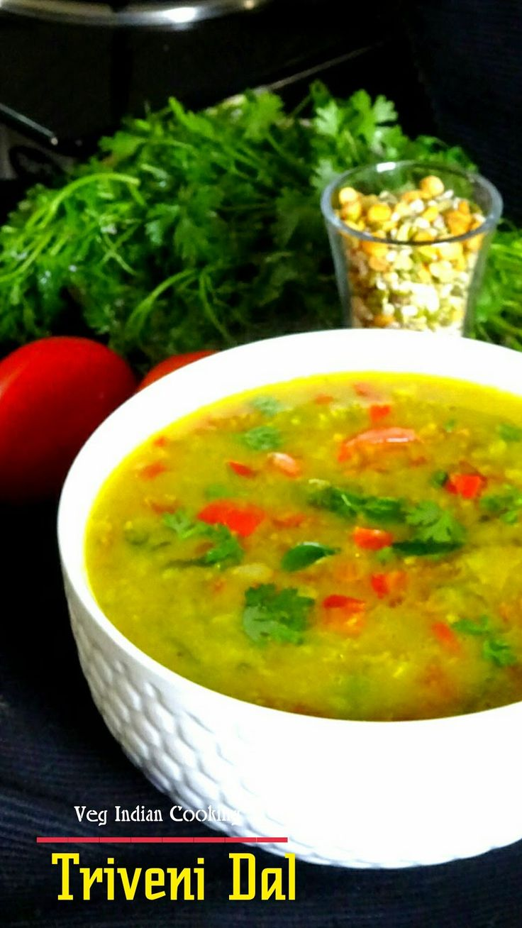 Triveni Dal Triveni dal is the beautiful confluence of three colorful lentils, which make this dal awesomely delicious and ....  #chanadal   #Trivenidal #uradal #splitgreendal #lentil #indianrecipes #indiancuisine #indianfood #foodblogger #easyrecipe #summerspecial #dalrecipe #staple #indiandalrecipe #protein #comfortfood