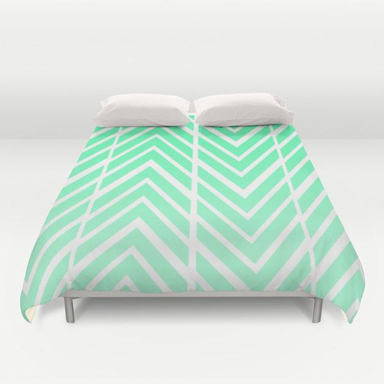 Mind Green Arrows - Bed Spread - Duvet Cover -  Mint Green and White - Bed Cover -  Duvet Cover Only - Bedding - Made to Order by ShelleysCrochetOle on Etsy