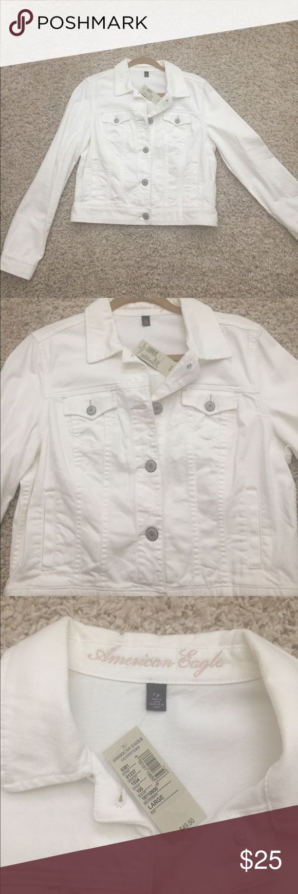 BRAND NEW w Tags American Eagle Jean Jacket White jean jacket that is brand new and has never been worn. It is in perfect condition and it is super cute to wear in the spring or summer! Please make an offer! American Eagle Outfitters Jackets & Coats Jean Jackets
