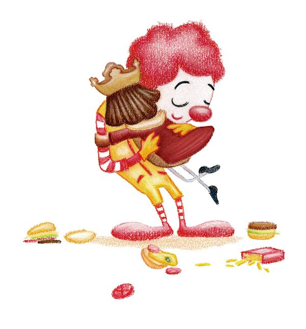 HUGS McDonalds and Burger King by Ingrid Aspöck #illustration