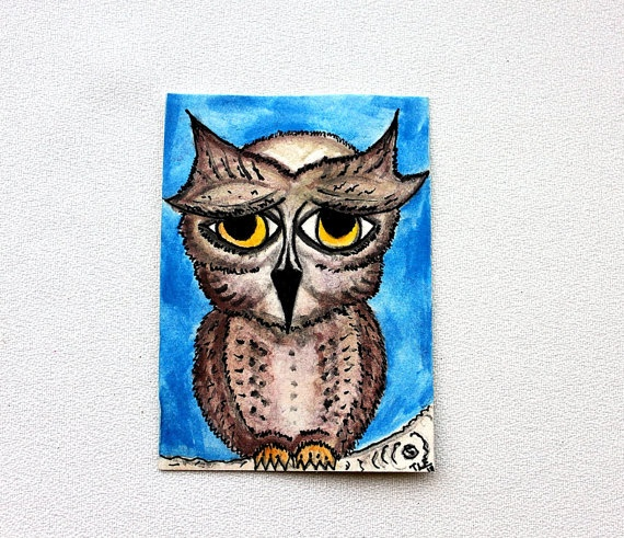Owl Original ACEO Watercolor Painting by nightsvision on Etsy
