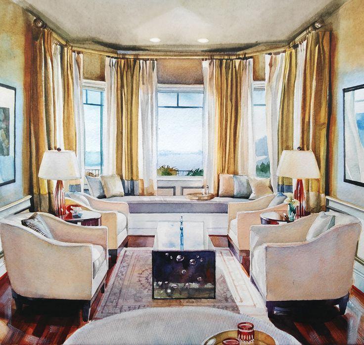 Watercolor Interior #4