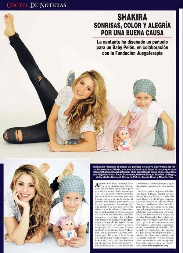 """Shakira en la revista """"¡HOLA!"""" de esta semana (España) con la campaña de Baby Pelones Juegoterapia! • 11/05/2016"""